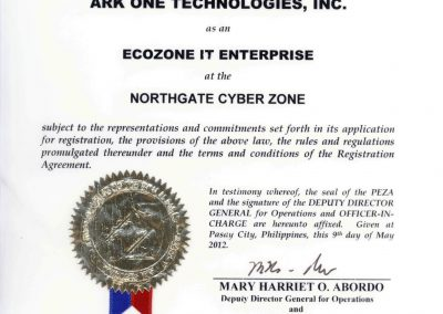 Ark One Technologies - PEZA Certificate of Registration-1